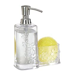InterDesign Blumz Soap and Scrubby Caddy, Clear