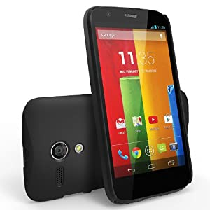 Moto G Case - Ringke Slim Better Grip Premium Hard Case Cover with Free Screen Protector for Motorola Moto G 1st Gen. 2013 - Retail Packaging - Black