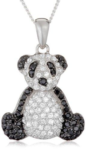 Silver Black/White Cubic Zirconia Panda Pendant + Curb Chain 46cm