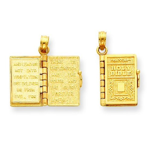 14k 3-D Holy Bible Book with Lord's Prayer Pendant