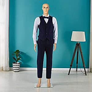 Yaheetech 72in Adjustable Male Mannequin Realistic Make-up Manikin Plastic Full Body Dress Form with Glass Base (Color: Nude, Tamaño: 72 Height)