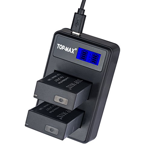 TOP-MAX® 2X LP-E17 Battery + Dual Battery Charger with Exclusive LED Screen for CanonEOS M3 750D 760D 8000D Kiss X8i Rebel T6i T6s Digital SLR Cameras
