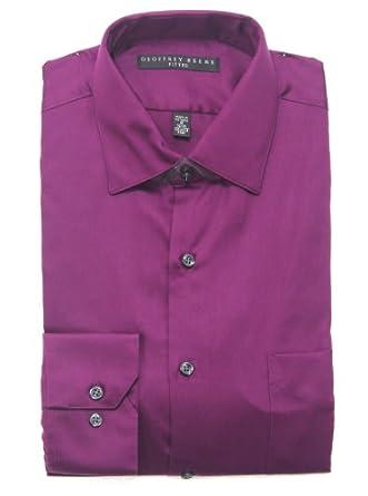 Geoffrey Beene Men's Sateen Fitted Dress Shirt-Eggplant-14.5 32-33