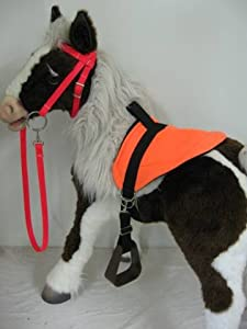 Butterscotch & S'Mores Interactive Horse Saddle Set, Neon Orange