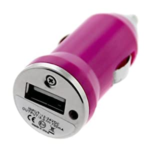 SODIAL(TM) Mini USB Car Charger Vehicle Power Adapter - Hot Pink for Apple iPhone 4 4G 16GB / 32GB 4th Generation