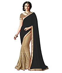 Exclusive Black And Beige Colored Lycra And Chiffon Material Sequence Work Saree With Fancy Blouse