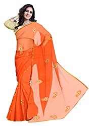 GiftPiper Pure Chiffon Aari Work Saree- Orange