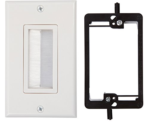 Buyer's Point Brush Wall Plate, with Single Gang Low Voltage Mounting Bracket Device (White Kit) (Wall Plate Cord Cover compare prices)