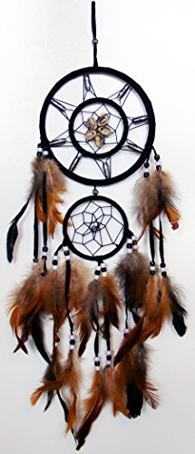 Dream Catcher Wall Hanging with Beads, Shells, Feathers Art Weaving & Native American History Poem