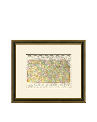 Vintage Print Gallery Antique Map Of Kansas 1886-1899, Multi, 17.5 x 20.5