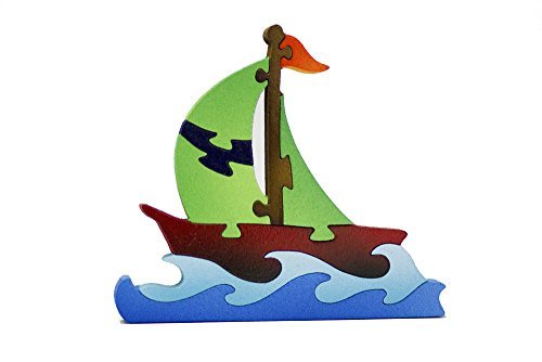 Wood Puzzles - Hand Made By Our Craftsman with None Toxic Paint - Sailboat - 1