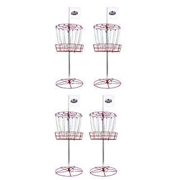 InStep Portable All-Weather Frisbee Golf Basket With 12 Free Discs (4-Goals)