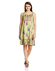 Rain and Rainbow Women's Cotton A-Line Dress (3740-15/12-4_GREEN_Large)