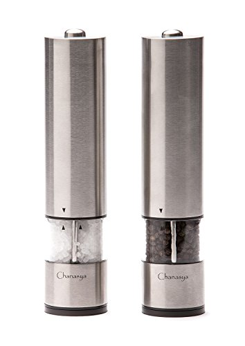 Chanasya Battery Powered Electric Salt & Pepper Mill Grinder Set- 2 Pack