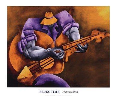 Blues Time High Quality Museum Wrap Canvas Print Philemon Reid 32X26