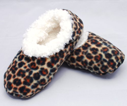 Cheap Snoozies Leopard Print Fleece Lined Womens Footies (100-114N)