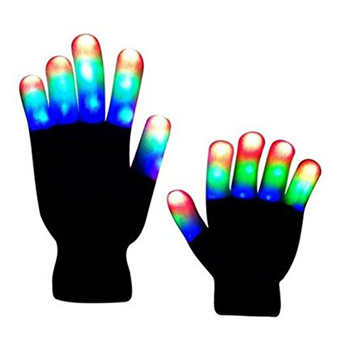 Flashing Colorful LED Light Up Show Gloves, Novelty Christmas Gift (Adult, Whole Fingers)