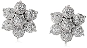 10K White Gold Cluster Flower Diamond Earrings (7/8 Cttw, H-I Color, I2 Clarity) by JPI
