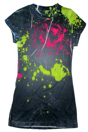 Sublimation SPLATTER SPLASH Tie Dye Fitted Juniors Girly Retro Groovy Vintage T-Shirt