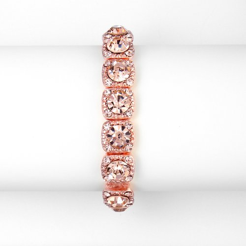 Rose-Gold Coral Color Bridesmaid or Prom Stretch Bracelet with Crystals