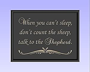 """Timber Creek Design Decorative Carved Wood Sign with Quote """"When you can't sleep, don't count the sheep, talk to the Shepherd."""" 3D Carved 12""""x9"""" Black - Indoor"""