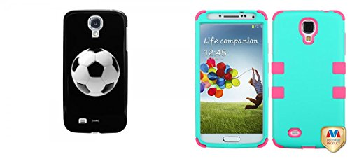 Combo Pack Cellet Black Proguard Case With Soccer Ball For Galaxy S4 And Mybat Rubberized Teal Green/Electric Pink Tuff Hybrid Phone Protector Cover For Samsung Galaxy S 4 (I337/L720/M919/I545/R970/I9505/I9500)