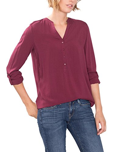 ESPRIT 086EE1F032, Camicia Donna, Rosso (BORDEAUX RED), 40