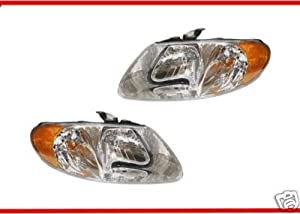 2001-2007 Dodge Grand Caravan Headlight Set LH Driver and RH Passenger Headlights 01 02 03 04 05 06 07 Left and Right Hand Headlamp Pair for 2001 2002 2003 2004 2005 2006 2007 Headlamps