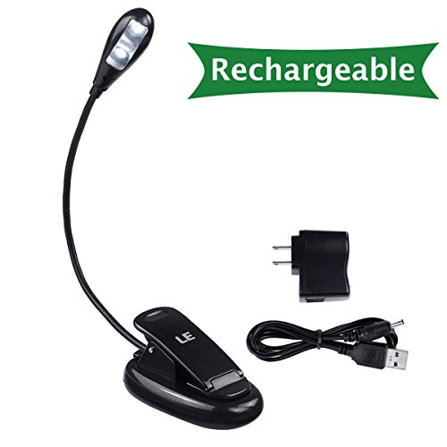 LE® Rechargeable LED Book Light, Portable and Flexible, 2-Level Brightness, AC Adaptor and USB Cord Included, Daylight White, Travel Light, Clip Light with Stand, Task Lighting