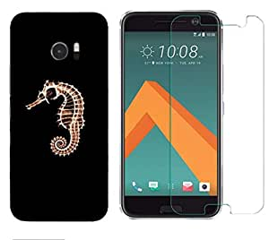 Snoogg 7a Hor7 Fish Combo Designer Protective Back & Shatter Proof Tempered Glass For HTC DESIRE 10 LIFESTYLE