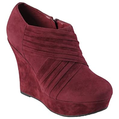 Brinley Co Sueded Round Toe Wedge Bootie