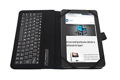 "Azpen A1040 10"" Bluetooth Keyboard Leather Case for 10.1 inch tablet"