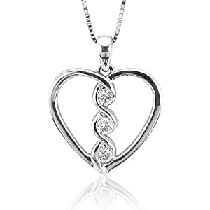 14k White Gold Heart 3 Stone Diamond Pendant Necklace (GH, I1-I2, 0.15 carat) from Diamond Delight