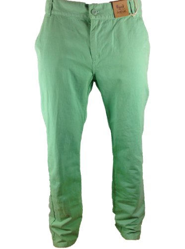 Mens Bellfied Colour Chinos Mint Green Fashion Trousers 28