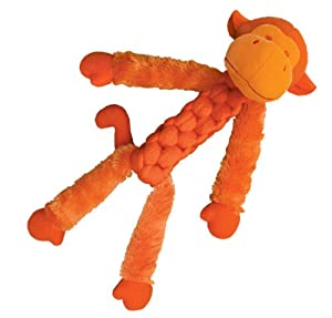 KONG BraidZ Fuzzy Monkey Dog Toy, Small (Colors Vary)