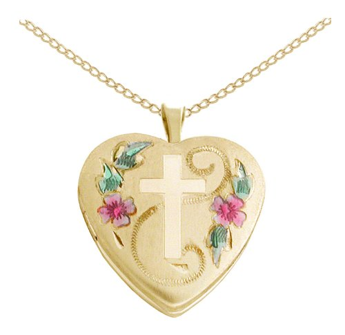 Gold Plated Silver Cross with Flowers and Leaves Heart Locket Pendant Necklace, 18