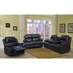 Merveilleux Cynthia Black Faux Leather Reclining Sofa Set