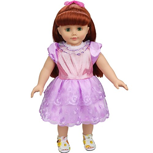 [HappyBB Baby Doll Clothes Skirt Fits 16 inches American Girl Doll - Purple Lace Skirt] (2pc Child Cheerleader Costumes)