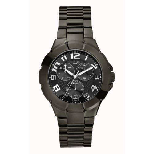 Guess W11010G1 - Reloj analógico de cuarzo para hombre con correa de acero inoxidable, color negro