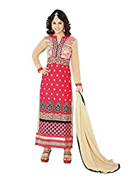 SANCHEY Womens Georgette Semi-stitched Salwar Suit Dupatta Material (Red)