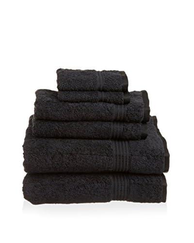 Superior 6-Piece 600 GSM Egyptian Cotton Towel Set, Black