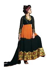Mantra Fashion Black & Orange Color Floral Thread Embroidery Work & Lace Border Work Anarkali Salwar Kameez