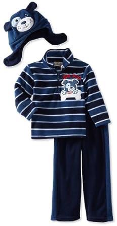 Little Rebels Little Boys' 3 Piece Big Dog Fleece Set, Navy, 4T