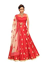 Party wear Tometo Red Color Banglori Silk Embroidered Ramp Lehnga Choli