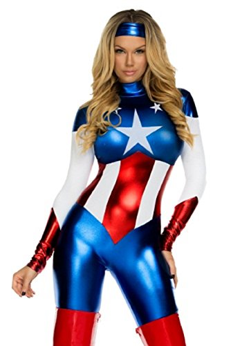 Mocoz Captain America American Bodysuit Womens Adult Costume