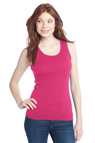 Buy Cool Shirts District Juniors 2x1 Rib 100% Cotton Dark Fuschia Tank Top 4XL