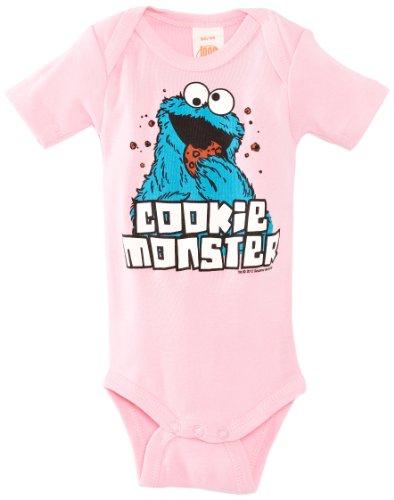 Baby Body Cookie Monster - tutina da neonato Sesamo apriti - Sesame Street - Il mostro dei biscotti - rosa - design originale concesso su licenza - LOGOSHIRT, taglia 98/104, 2-4 anni
