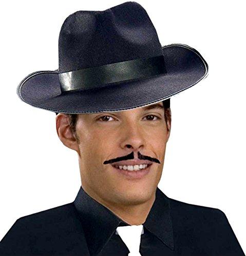 Forum Novelties Men's Human Hair Gangster Mustache, Gray, One Size - 1