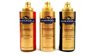 Ghirardelli Squeeze Bottles Variety, Set of 3: Chocolate, White Chocolate and Caramel