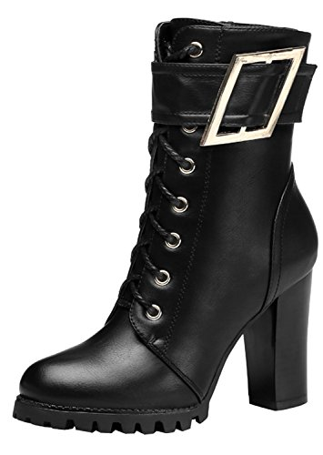 WUXING-Christmas-Womens-Comfortable-Lace-Up-Zipper-Buckle-Motorcycle-Boots